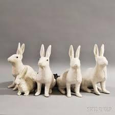 five white painted cast metal rabbit lawn ornaments sale number