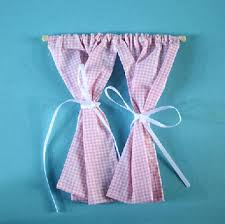 Pink Gingham Curtains Curtains Pair Of Pink Gingham Curtains On Pole Dolls House