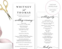 template for wedding programs wedding program template etsy