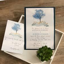Layered Wedding Invitations Romantic Navy Blue Tree Layered Wedding Invitations Ewli021 As Low