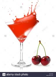 martini cherry cherry juice splash studio isolated on white background stock