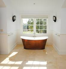off white bathroom with copper and ceramic tub bathroom rustic and