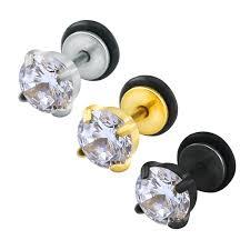 ear piercing studs cubic zirconia earrings studs women men stainless steel ear