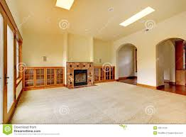 Luxury Home Interiors Large Empty Room With Fireplace And Shelves New Luxury Home