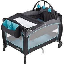 baby boy playpen blue deluxe travel crib nursery center infant