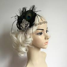 1920s headband online shop vintage shiny drop feather peacock headband