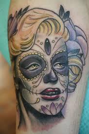 lips tattoos designs sugar skull marilyn monroe by joel van goor at lagniappe custom