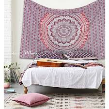mandala ombre red indian hippy wall hanging tapestry