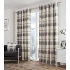 Slate Gray Curtains Ready Made Tartan Cotton Ring Top Curtains With Checked Design