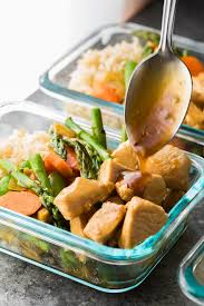 maple ginger chicken meal prep lunch bowls sweet peas and saffron