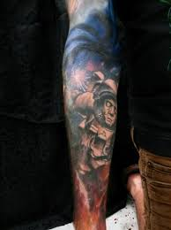 big colored space with zombie spaceman tattoo on sleeve