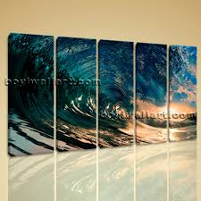 wall art canvas print hd ocean wave surf sunset contemporary home