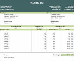 Packing List Template Excel Export Packing List Template Excel Templates