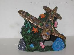 ornaments vintage aircraft sunken airplane ww2 plane aquarium