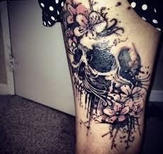 amazing skull with flowers on leg for tattoos