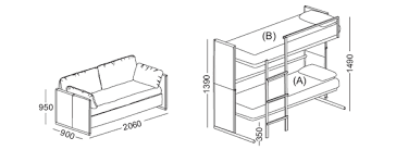 Dimensions Of A Couch Doc A Sofa Bed That Converts In To A Bunk Bed In Two Secounds