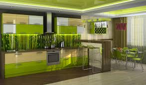 cool lime green kitchen design with unique white bar stool and