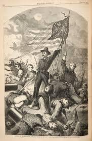 Waving Flag Artist Drawn American Flag Civil War Pencil And In Color Drawn American