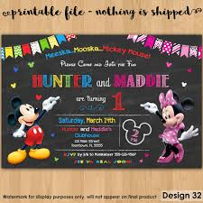Twins 1st Birthday Invitation Cards Personalized Mickey Mouse Birthday Invitations U2013 Gangcraft Net