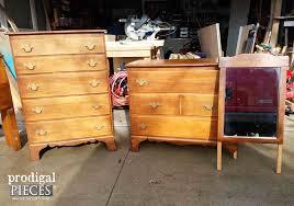 Haynes Furniture Bedroom Dressers U0027s Bedroom Set Refreshed With Paint Paper U0026 Pulls Prodigal