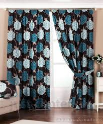 chocolate brown and teal curtains home decoration ideas