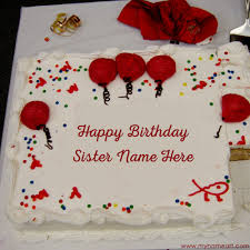 Happy Birthday Wishes To Big Big Decorated White Birthday Cake Image Edit With Sister Name