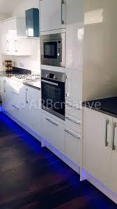 kitchen plinth lights white gloss slab door kitchen installation in hull east yorkshire