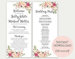 wedding ceremony program templates wedding program template instant bohemian floral