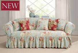 Patterned Slipcovers For Chairs Sure Fit Slipcovers Ballad Bouquet One Piece Slipcovers Sofa In