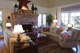 living room with brick fireplace interior design