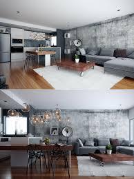 studio apartment interiors inspiration exposed concrete