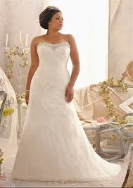 wedding plus a line strapless sweetheart ruched organza lace plus size wedding