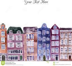 european houses drawn street european pencil and in color drawn street european