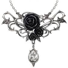 elegant black rose victorian necklace with crystal drop fine bacchanal black rose victorian necklace at gothic plus gothic clothing jewelry goth shoes