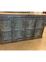 distresses wooden lotus carved blue large sideboard console