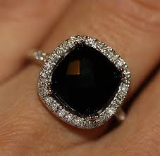 black gemstone rings images Natural black onyx conflict free diamond halo engagement ring in jpg