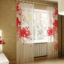 Curtains Floral Quality Linen Red Floral Pattern 3d Effect Decorative Sheer Curtains
