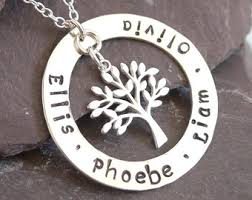 personalized family tree necklace hammered sterling silver washer pendant birthday gift idea
