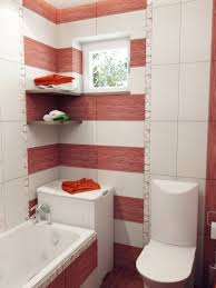bathroom blooming red white stripe with a touch of floral tile