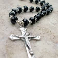 rosary necklace with cross images Mens black crystal rosary inspired cross necklace with silver made jpg