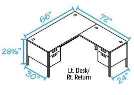 L Shaped Desk Dimensions Hon Metro Classic Series Right Desk W Left Return P3265r P3236l