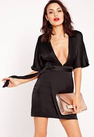 silky kimono wrap dress black missguided australia