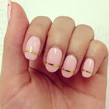 cute pink nail with gold line nails pinterest pink nails and