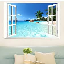 large removable beach sea 3d window view scenery wall sticker
