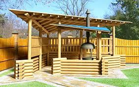 cuisine d été en cuisine d été cuisine extérieur barbecue bois concept bois extérieur