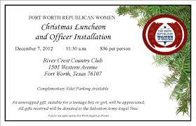 christmas lunch invitation december christmas luncheon officer installation fort worth