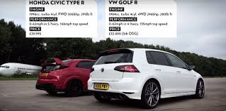 honda civic type r vs vw golf r in drag race 10th gen civic forum