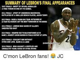 Lebron Finals Meme - summary of lebron s final appearances 2007 finals swept by spurs
