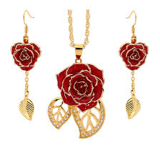 red necklace earring set images Gold dipped rose red matched jewellery set in leaf theme jpg