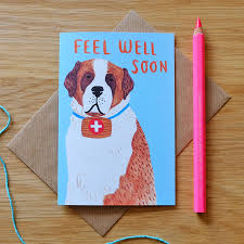 illustrated feel well soon st bernard card by cole